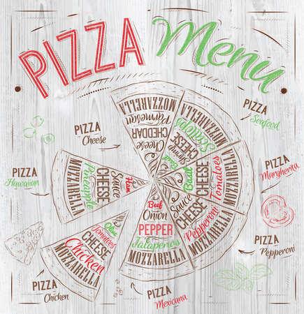 illustration of food: Pizza de los nombres de los platos de pizza, hawaiana, queso, pollo, salchichones y otros ingredientes de tomate, albahaca, aceite de oliva, queso para dise�ar un men� estilizado dibujo con madera de color rojo, verde Vector Vectores