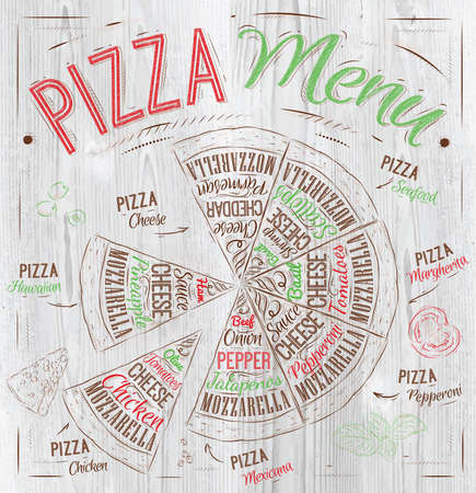 Pizza menu the names of dishes of Pizza, Hawaiian, cheese, chicken, pepperoni and other ingredients tomato, basil, olive, cheese to design a menu stylized drawing with wood of red, green  Vector Vector