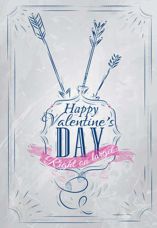 Poster Valentine s Day with blue chalk shown with a match lettering Happy Valentine s Day  Vector Vector