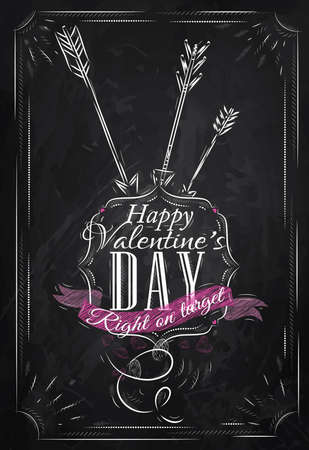 Poster Valentine s Day with chalk on the blackboard shown with a match lettering Happy Valentine s Day  Vector Vector