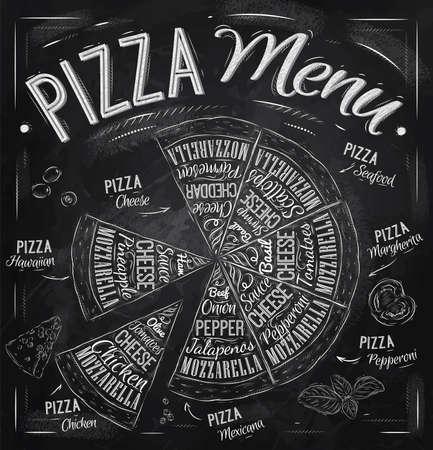 ピザのメニューの料理名のピザ、ハワイ、チーズ、チキン、ペパロニと他成分トマト、バジル、オリーブ、チーズ チョーク ベクトルで描画様式化さ  イラスト・ベクター素材