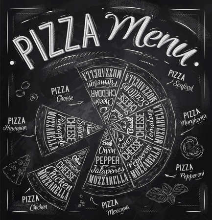 pizza: Pizza menu de namen van de gerechten van pizza, Hawaiian, kaas, kip, pepperoni en andere ingrediënten tomaat, basilicum, olijven, kaas om een menu gestileerde tekening met krijt Vector ontwerpen