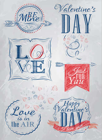Valentine s Day and Love lettering collection of Valentine s Day from letters stylized for the drawing with chalk of blue   Vector