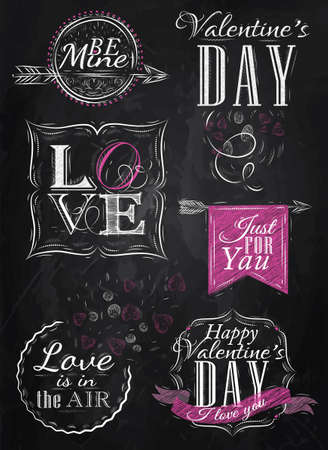 Valentine s Day and Love lettering collection of Valentine s Day from letters stylized for the drawing with chalk of pink on the blackboard   Vector
