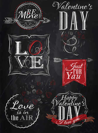 love letters: Valentine s Day and Love lettering collection of Valentine s Day from letters stylized for the drawing with chalk of red on the blackboard   Illustration