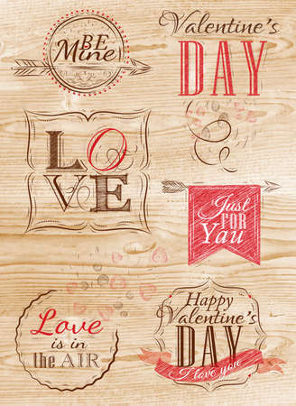 Valentine s Day and Love lettering collection of Valentine s Day from letters stylized for the drawing with chalk of red on the woodboard   Vector