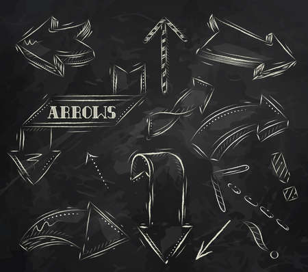 Arrow stylized drawing in chalk on the blackboard Vector