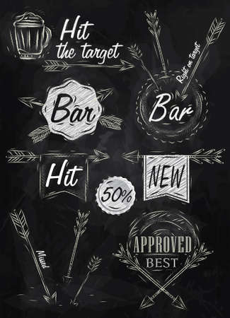 signifier: Set collection emblem of Bar, Boom Arrow, symbol stylized on the drawing with chalk on the blackboard  Illustration