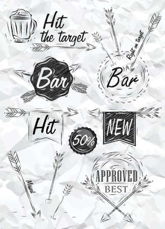 signifier: Set collection emblem of Bar, Boom Arrow, symbol stylized drawing of a pen on a crumpled paper   Illustration
