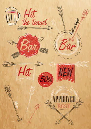 Set collection emblem of Bar, Boom Arrow, symbol stylized drawing on kraft paper of red, white, brown