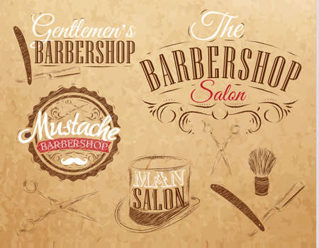 Set Barbershop, scissors, shaving brush, razor, cylinder, in a retro style and stylized for the drawing on kraft paper of red, white, brown   Vector