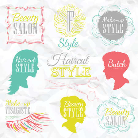 Set Beauty salon, side view in a retro style and stylized for the drawing with color  Vector