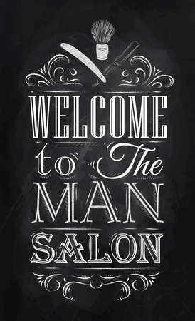 レトロなスタイルで男のサロンへようこそ、黒板にチョークで図面の様式化されたポスターの理髪店