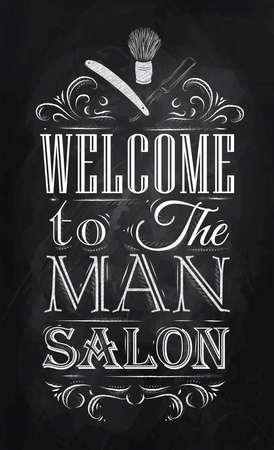 Poster Friseursalon willkommen in der Mann-Salon im Retro-Stil und stilisierte für die Zeichnung mit Kreide an der Tafel