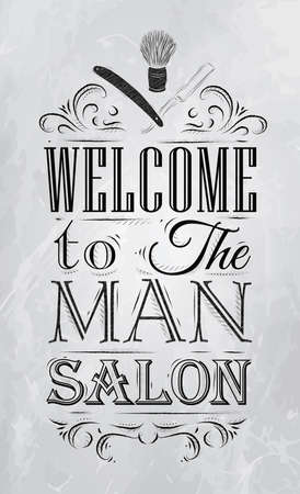 straight razor: Poster Barbershop welcome to the man salon in a retro style and stylized for the drawing with coal   Illustration