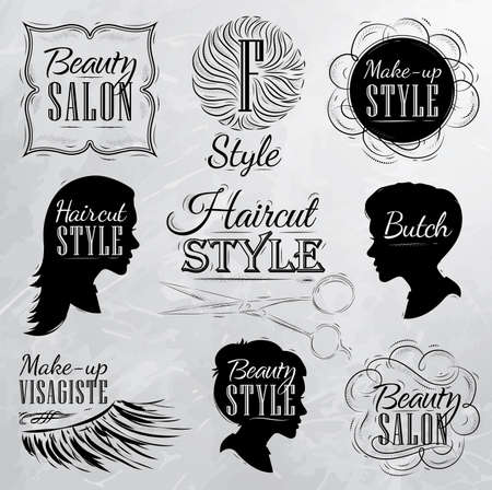 hair cut: Set Beauty salon, side view in a retro style and stylized for the drawing with coal on the board