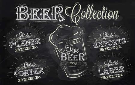 cerveza negra: Los nombres de los diferentes tipos de cerveza porter, exportaciones, cerveza, ciervos en vivo, pilsner, estilizado dibujo con tiza en la pizarra