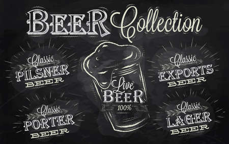 Names of different types of beer  porter, exports, lager, live deer, pilsner, stylized drawing with chalk on the blackboard Vector