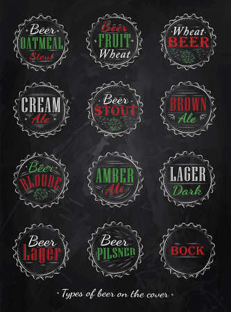 Poster Collection of beer caps types of beer stylized under retro drawing with chalk, red, green colors   Vector
