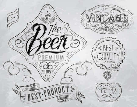 Vintage Elements stylized under a drawing on the theme of beer  retro style, patterns, acorn, inscriptions, ribbons, twig, hops, graphics  Illustration