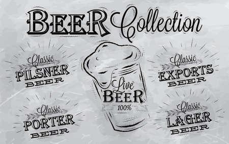 Namen van verschillende soorten bier porter, export, pils, live herten, pilsener, gestileerde tekening met kolen op het bord Stockfoto - 25699675