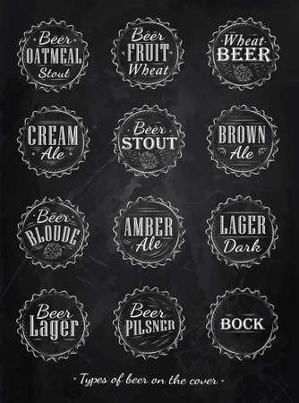 Colección del cartel de la cerveza tapas de tipos de cerveza estilizada en retro dibujo de tiza en una pizarra
