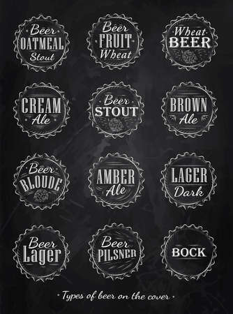 Poster Collection of beer caps types of beer stylized under retro chalk drawing on a blackboard