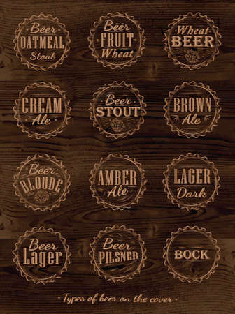 Poster Collection of beer caps types of beer stylized under retro carved in dark wood