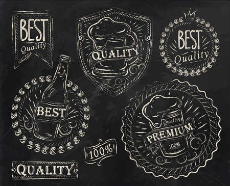 chalk board: Vintage print design elements on the subject of beer quality stylized under a chalk drawing on the theme of beer on a black background  retro style, foam, ribbons, twig, hops, graphics  Illustration