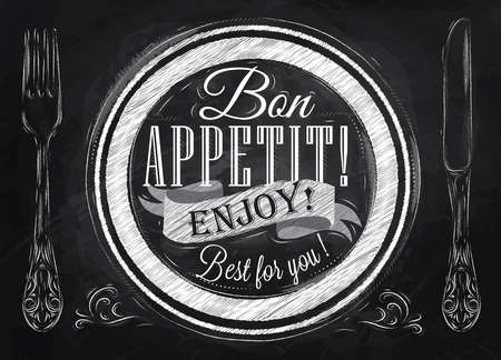 vintage cutlery: Bon appetit  enjoy  Best for you lettering on a plate with a fork and a spoon on the side in retro style drawing with chalk on blackboard  Illustration