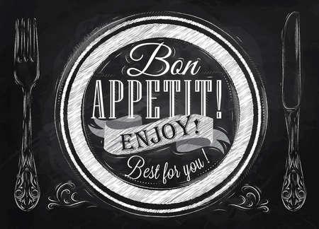 Buen provecho disfrutar de lo mejor para que las letras en un plato con un tenedor y una cuchara en el lado en el dibujo estilo retro con tiza en la pizarra