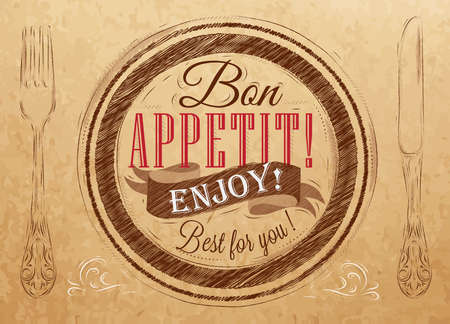Bon appetit  enjoy  Best for you lettering on a plate with a fork and a spoon on the side in retro style drawing on kraft paper of red, white, brown