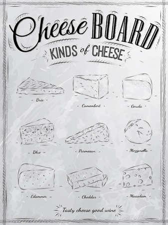 tabla de quesos: Conjunto Cartel de queso con diferentes tipos de queso parmesano, mozzarella, queso brie, camembert, gouda, maasdam, cheddar, llamados quesos en estilo retro estilizado dibujo con carbón