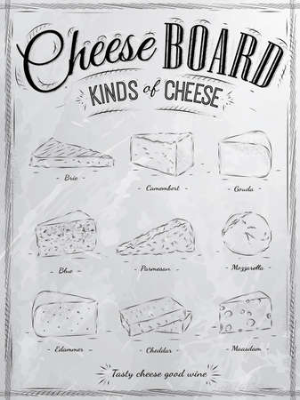 Poster set of cheese with different types of cheeses  parmesan, mozzarella, brie, camembert, gouda, maasdam, cheddar, called cheeseboard in retro style stylized drawing with coal  Иллюстрация