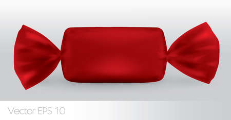 wrapper: Red rectangular candy package for new design, isolation of the product on a white background with reflections and soldering red color