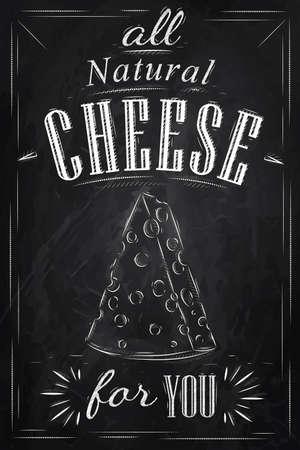 brie: Poster belettering alle natuurlijke kaas voor u gestileerde tekening met krijt op bord Stock Illustratie