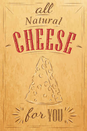 swiss cheese: Poster lettering all natural cheese for you stylized drawing on kraft
