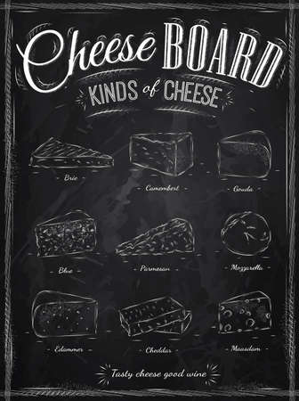 delicatessen: Poster set of cheese with different types of cheeses  parmesan, mozzarella, brie, camembert, gouda, maasdam, cheddar, called cheeseboard in retro style stylized drawing with chalk