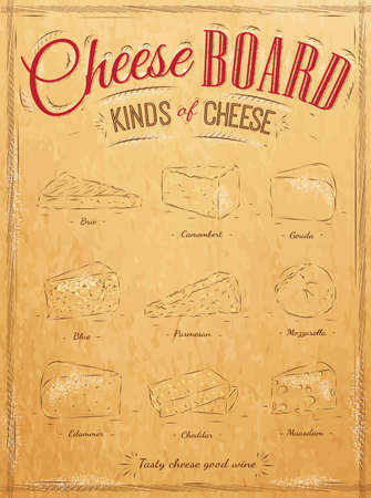 kinds: Poster set of cheese with different types of cheeses  parmesan, mozzarella, brie, camembert, called cheeseboard in retro style stylized for the drawing on kraft paper of red, white, brown