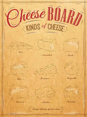 brie: Poster set van kaas met verschillende soorten kaas Parmezaanse kaas, mozzarella, brie, camembert, genaamd kaasplank in retro stijl gestileerd voor de tekening op kraftpapier van rood, wit, bruin