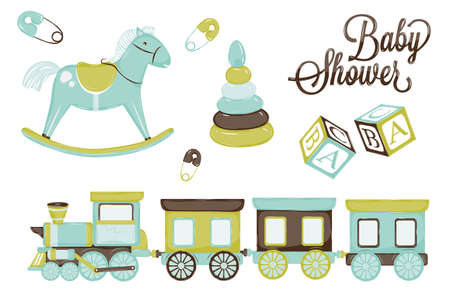 birthday train: retro toy pony cubes and steam and children s pyramid, gentle tones blue brown scale