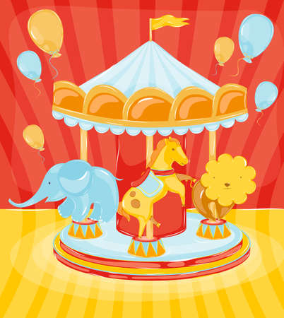birthday carousel with animals, a birthday, elephant, a horse, a lion on the carousel, red background with dots in retro style Vector