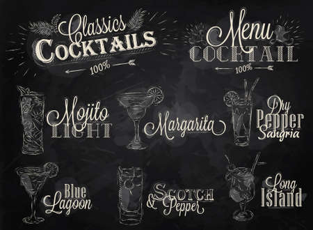 coctel de frutas: Juego de carta de cócteles en el dibujo estilizado estilo vintage con tiza en la pizarra, Cócteles con que se ilustra, la laguna azul margarita Scotch