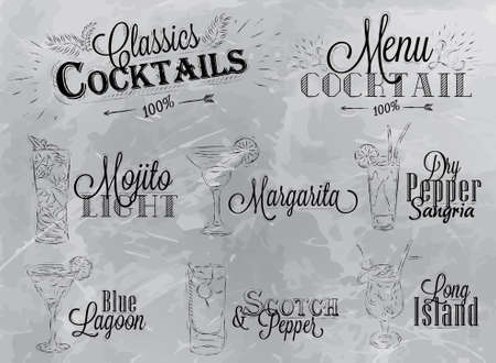 Set of cocktail menu in vintage style stylized drawing in charcoal on gray background, Cocktails with illustrated, the blue lagoon margarita Scotch Vector