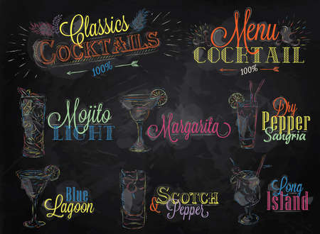 Set of cocktail menu in vintage style stylized drawing of colored chalk on a school blackboard, Cocktails with illustrated, the blue lagoon margarita Scotch Vector
