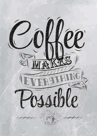 caf�: Poster lettering il tempo pausa caff� per voi stilizzato carbone iscrizione