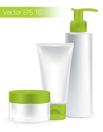 Composition of packaging containers green color, cream, beauty products set