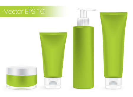 Packaging containers green color, package cream, Beauty products set
