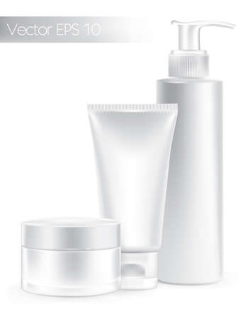 woman face cream: Composition of packaging containers white color, cream, beauty products set