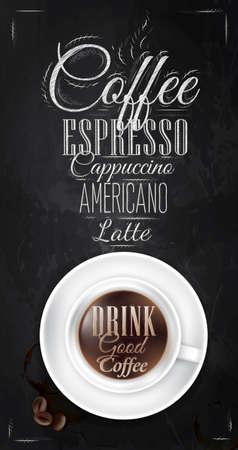 café de l'affiche à la craie sur le tableau noir montré avec une tasse de lettrage boire un bon café et le menu